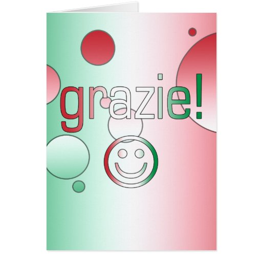 Italian Gifts : Thank You / Grazie + Smiley Face Greeting Card