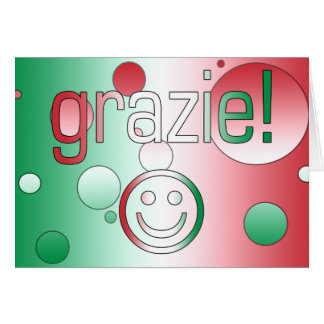 Italian Gifts : Thank You / Grazie + Smiley Face Note Card
