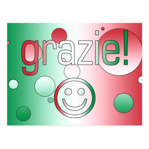 Italian Gifts : Thank You / Grazie + Smiley Face Post Card