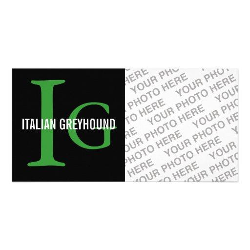 Italian Greyhound Breed Monogram Personalized Photo Card