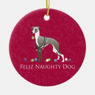 Italian Greyhound Christmas Design Ceramic Ornament