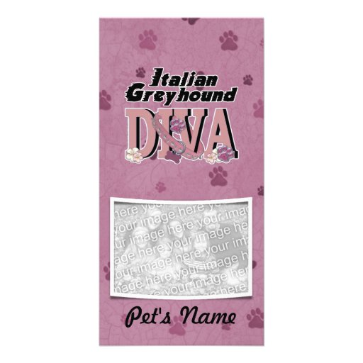 Italian Greyhound DIVA Personalized Photo Card