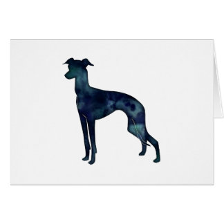 Italian Greyhound Dog Black Watercolor Silhouette Card