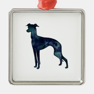Italian Greyhound Dog Black Watercolor Silhouette Metal Ornament