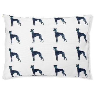 Italian Greyhound Dog Black Watercolor Silhouette Pet Bed