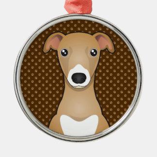 Italian Greyhound Dog Cartoon Paws Metal Ornament