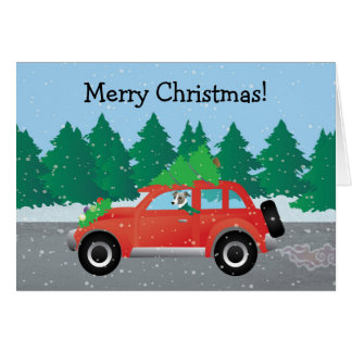 Italian Greyhound Dog Driving Car - Christmas Tree Greeting Card