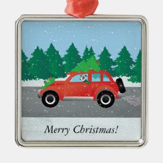 Italian Greyhound Dog Driving Car - Christmas Tree Metal Ornament