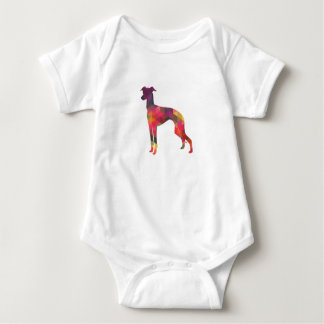 Italian Greyhound Geo Pattern Silhouette - Multi Baby Bodysuit