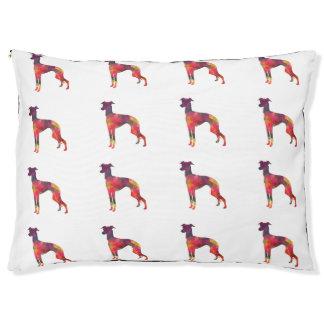 Italian Greyhound Geo Pattern Silhouette - Multi Pet Bed