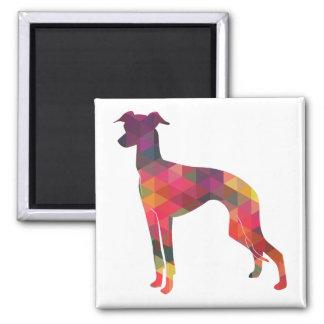 Italian Greyhound Geo Pattern Silhouette - Multi Square Magnet