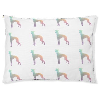Italian Greyhound Geo Pattern Silhouette - Pastel Pet Bed