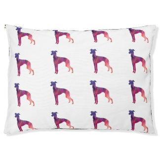 Italian Greyhound Geo Pattern Silhouette - Pink Pet Bed