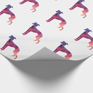 Italian Greyhound Geo Pattern Silhouette - Pink Wrapping Paper