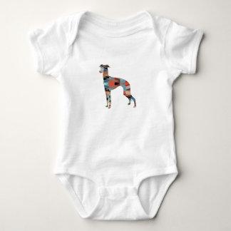 Italian Greyhound Geo Pattern Silhouette - Plaid Baby Bodysuit