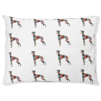 Italian Greyhound Geo Pattern Silhouette - Plaid Pet Bed