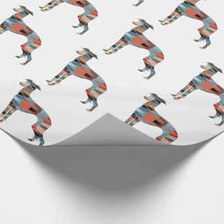 Italian Greyhound Geo Pattern Silhouette - Plaid Wrapping Paper