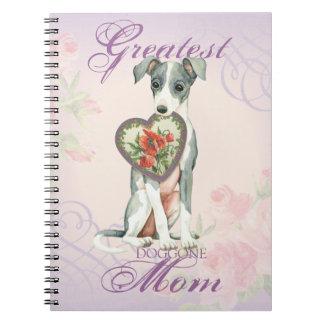 Italian Greyhound Heart Mom Spiral Notebook