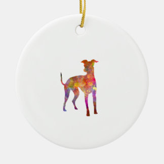 Italian Greyhound in watercolor Round Ceramic Decoration