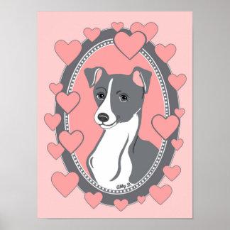 "Italian Greyhound Love Poster, 12"" x 16"" Poster"
