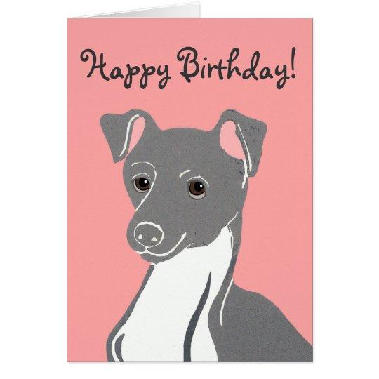 Italian Greyhound Pink Happy Birthday Card