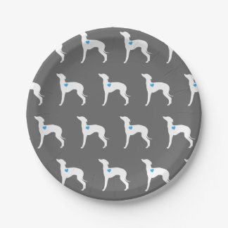 Italian Greyhound Plate with Blue Heart