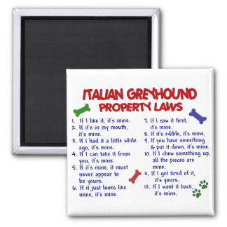 ITALIAN GREYHOUND Property Laws Square Magnet