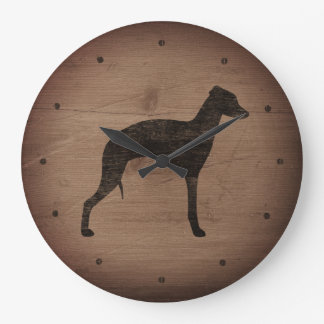 Italian Greyhound Silhouette Rustic Style Large Clock