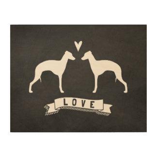 Italian Greyhound Silhouettes Love Wood Wall Decor