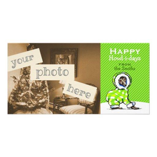 Italian Greyhound Snowsuit Christmas Modern Green Custom Photo Card
