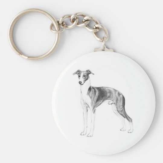 Italian Greyhound Style Basic Round Button Key Ring