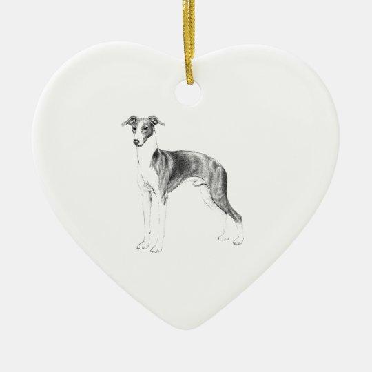 Italian Greyhound Style Ceramic Heart Decoration