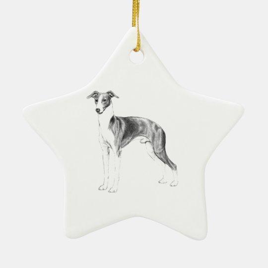 Italian Greyhound Style Ceramic Star Decoration