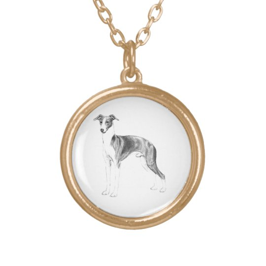 Italian Greyhound Style Gold Plated Necklace