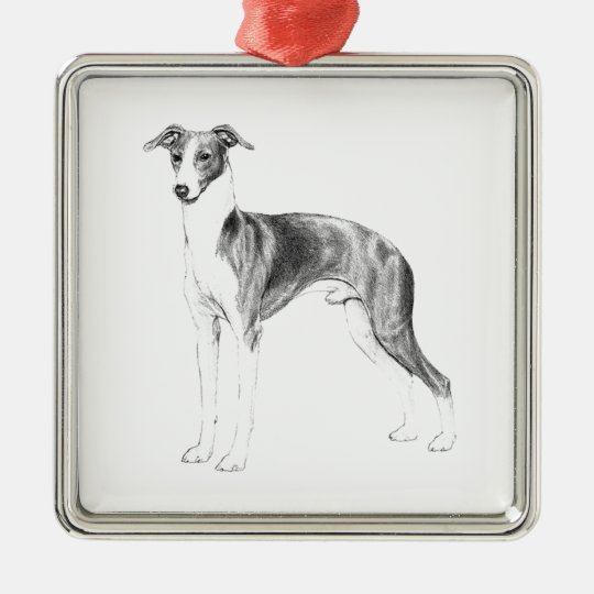 Italian Greyhound Style Silver-Colored Square Decoration