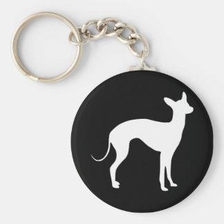 Italian Greyhound White on Black Key Ring