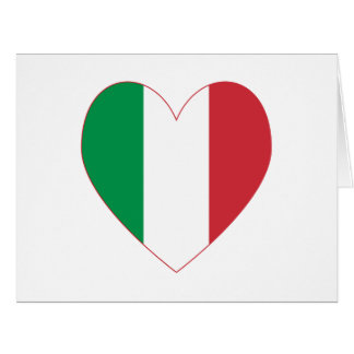 Italian Heart Flag Red Border Card