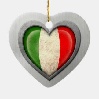 Italian Heart Flag Stainless Steel Effect Ceramic Heart Decoration