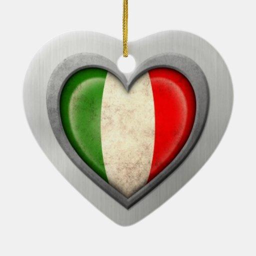 Italian Heart Flag Stainless Steel Effect Christmas Ornament