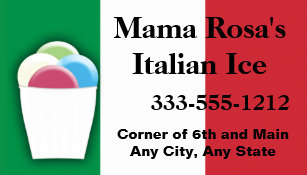 Italian business cards business card printing zazzle italian ice vendor or shop with flag colours business card colourmoves