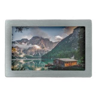 Italian Lake-Side Mountain Cabin Belt Buckle