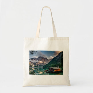 Italian Lake-Side Mountain Cabin Tote Bag