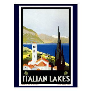 """Italian Lakes"" Vintage Travel Poster Postcard"