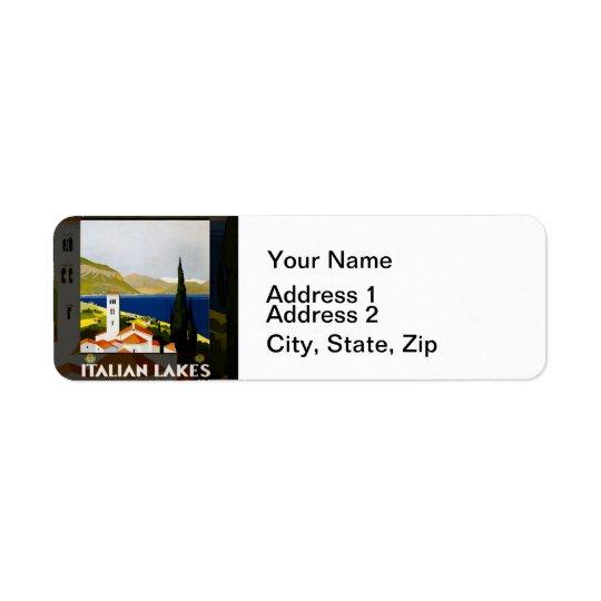 Italian Lakes Vintage Travel Poster Return Address Label