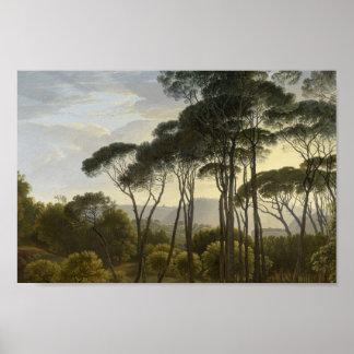 Italian Landscape with Umbrella Pines Oil Painting Print