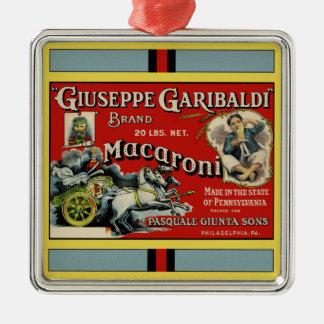 Italian Macaroni Advertisement Silver-Colored Square Decoration
