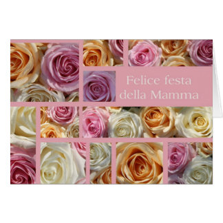 italian mother's day pastel rose collage greeting card