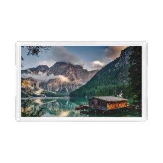 Italian Mountains Lake Landscape Photo Acrylic Tray