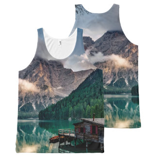 Italian Mountains Lake Landscape Photo All-Over Print Singlet