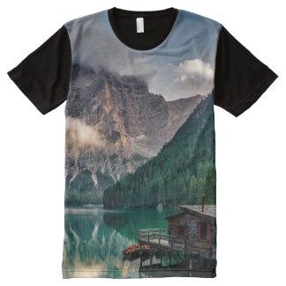 Italian Mountains Lake Landscape Photo All-Over Print T-Shirt